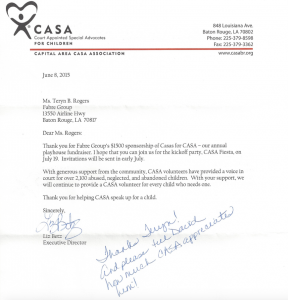 CASA Letter Of Appreciation