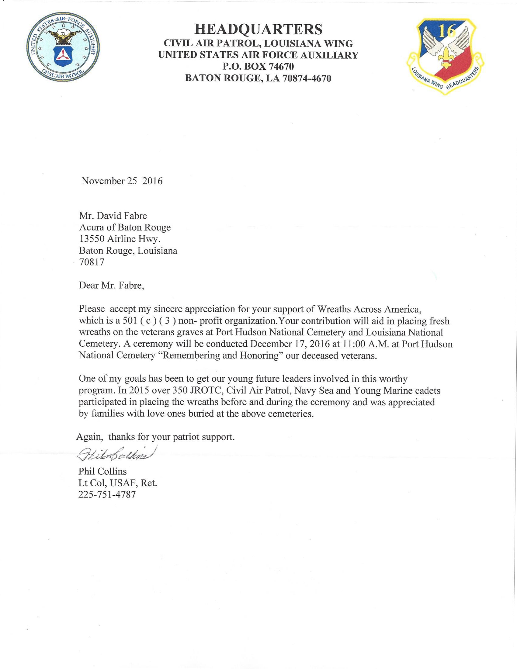 Wreaths Across America Letter Of Appreciation