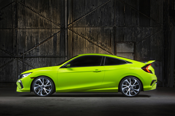 Green 2016 Honda Civic Concept Coupe Side View
