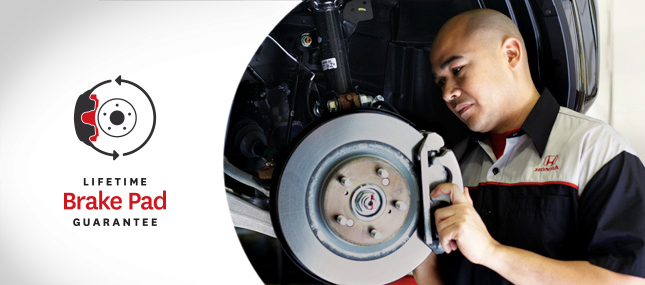 Honda Brake Pads lifetime guarantee at Formula Honda