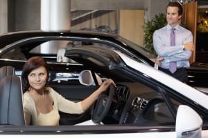 Woman having a test drive