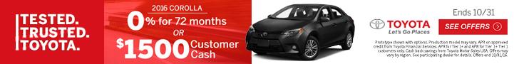 Toyota 2016Corolla Offer 100516