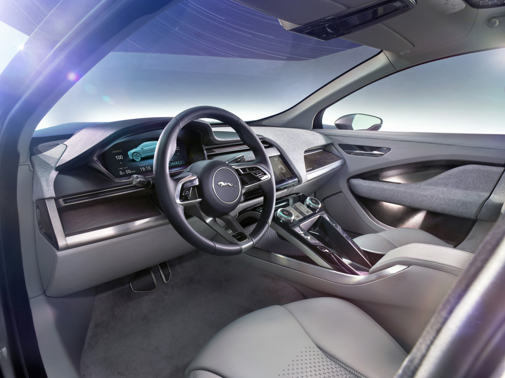 Jaguar cockpits have always been driver focused; the I-PACE Concept is no different. Inside, the cockpit is complemented by intuitive interface designs and advanced materials that reflect Jaguar craftsmanship in new and innovative ways.
