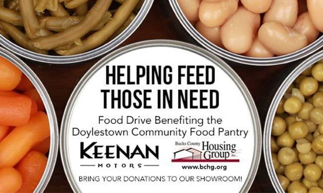 Keenan motors annual doylestown food drive to help local for Keenan motors doylestown pa