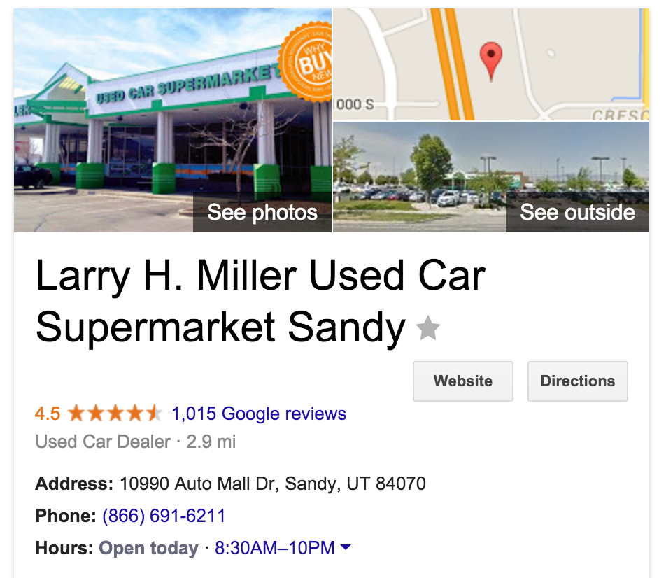 Google Listing Used Car Supermarket