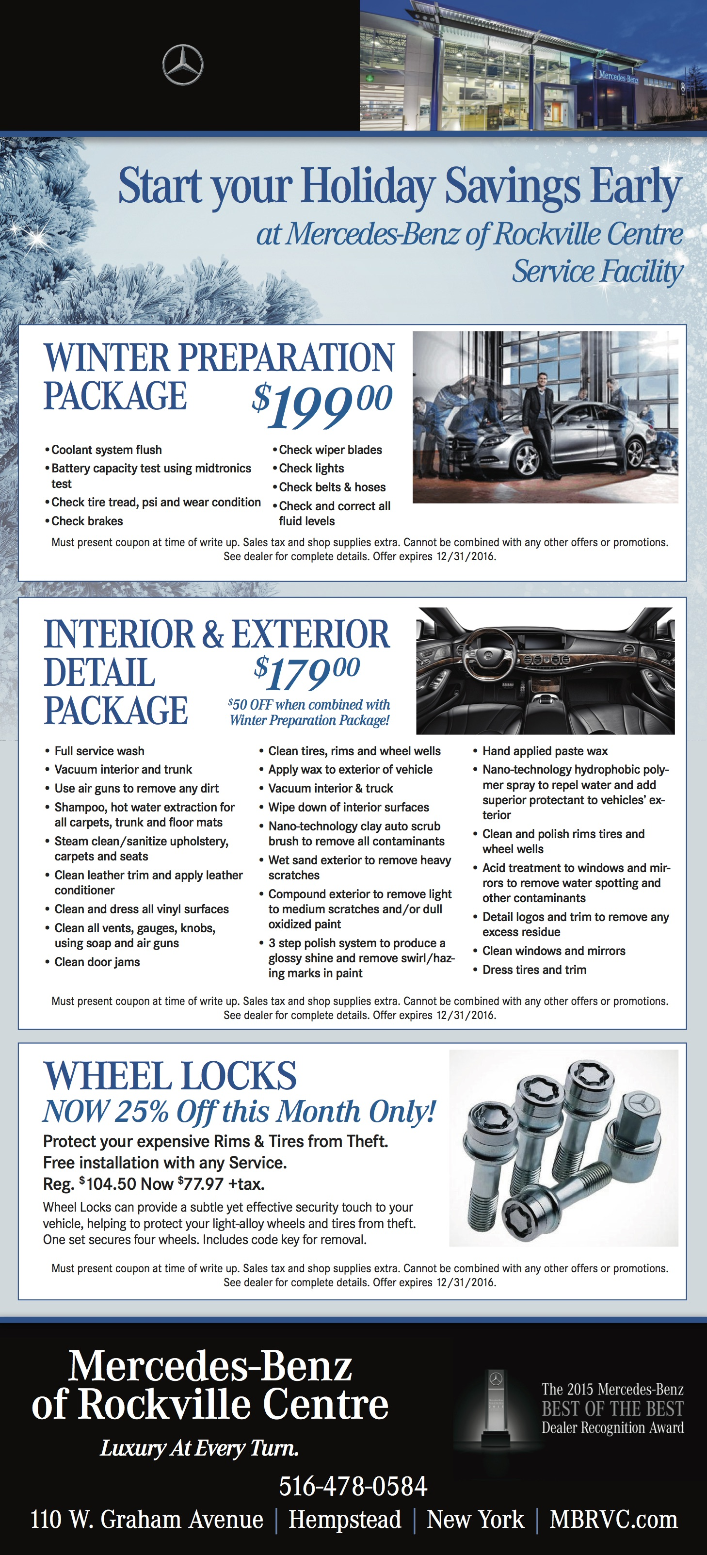 Holiday savings with mercedes benz of rockville centre for Mercedes benz service hempstead