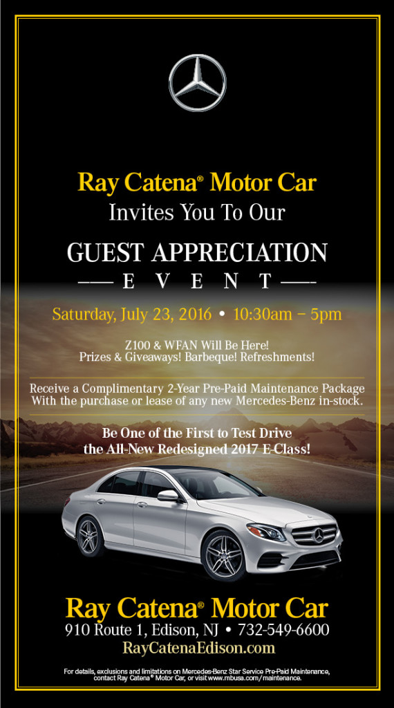 Mercedes-Benz of Edison is proud to announce their 2016 Guest Appreciation Event at their Edison location on Saturday July 23rd, from 10:30am until 5:00pm.